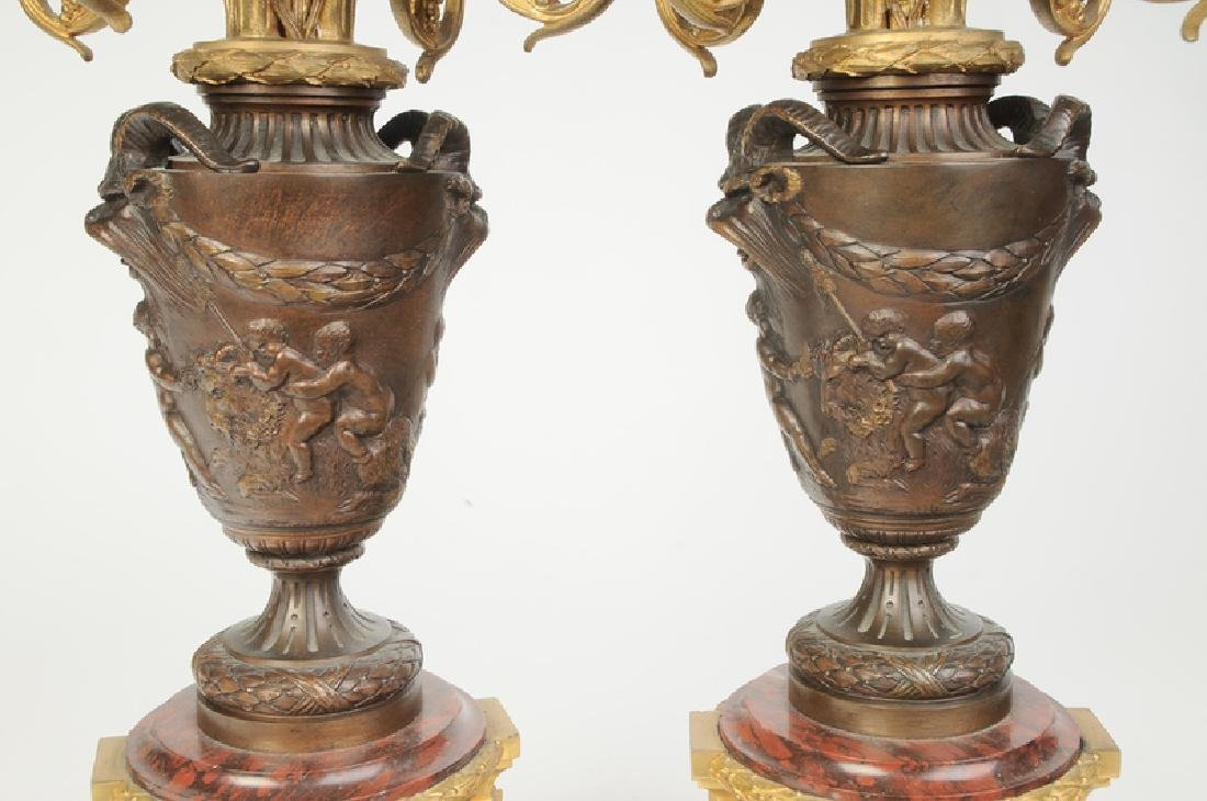 Pair Bronze and Marble Ormolu Lamps - 6