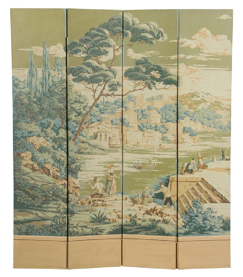French Block Printed Four Panel Room Screen