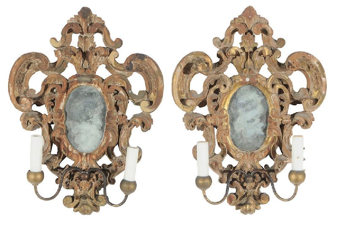 Pair Baroque Style Giltwood Mirror Sconces