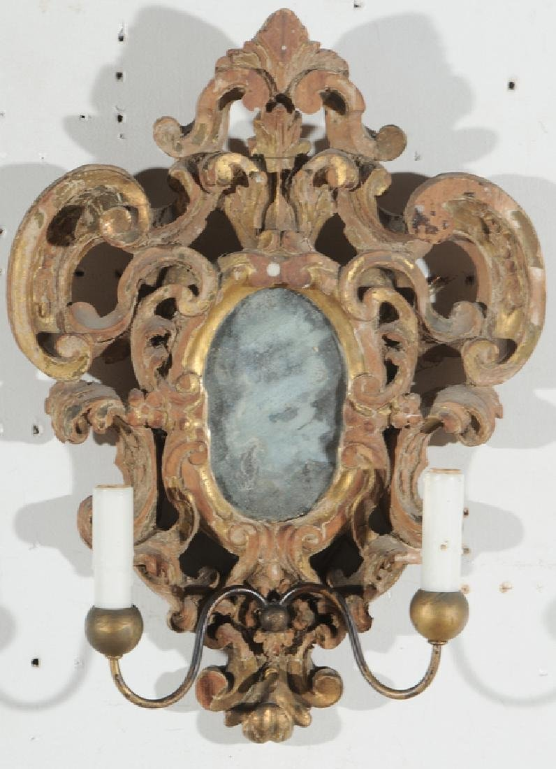 Pair Baroque Style Giltwood Mirror Sconces - 3