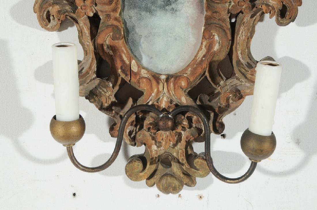 Pair Baroque Style Giltwood Mirror Sconces - 4