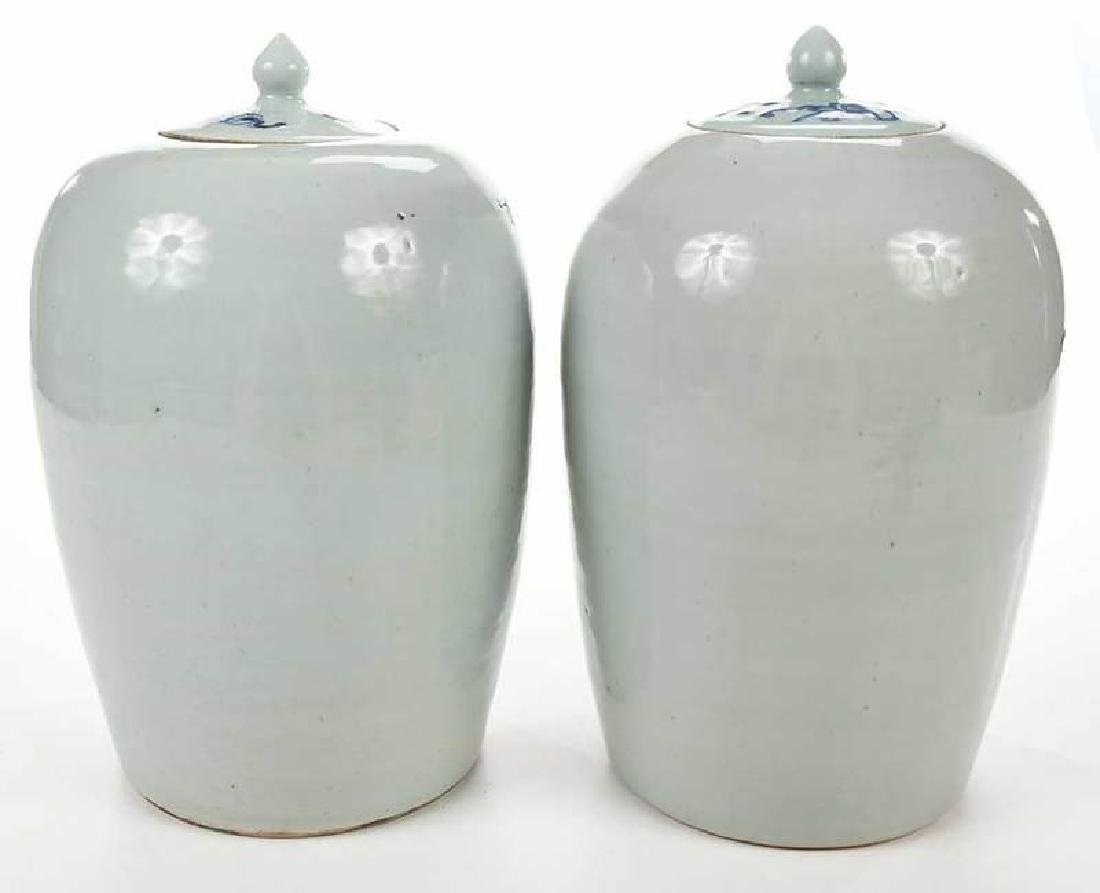 Two Chinese Blue and White Lidded Jars - 6