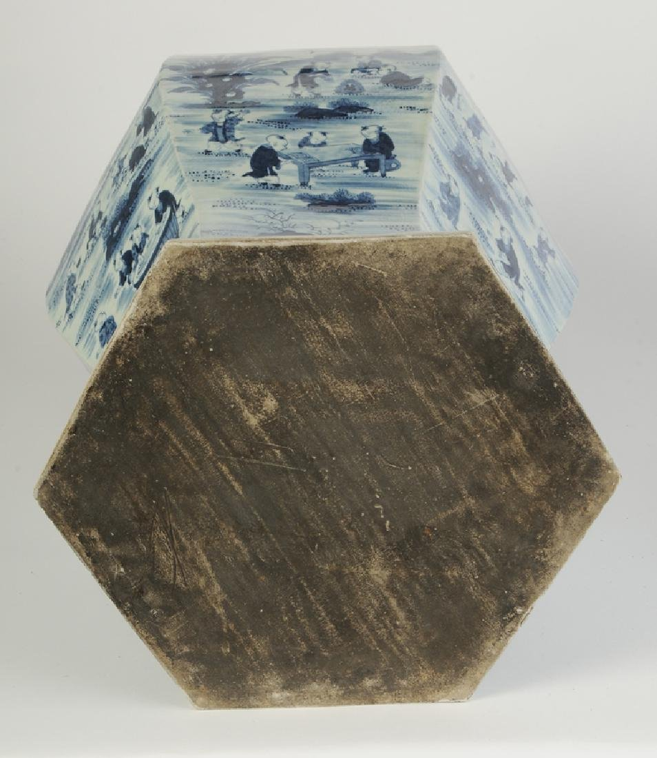 Blue and White Lidded Temple Jar - 8