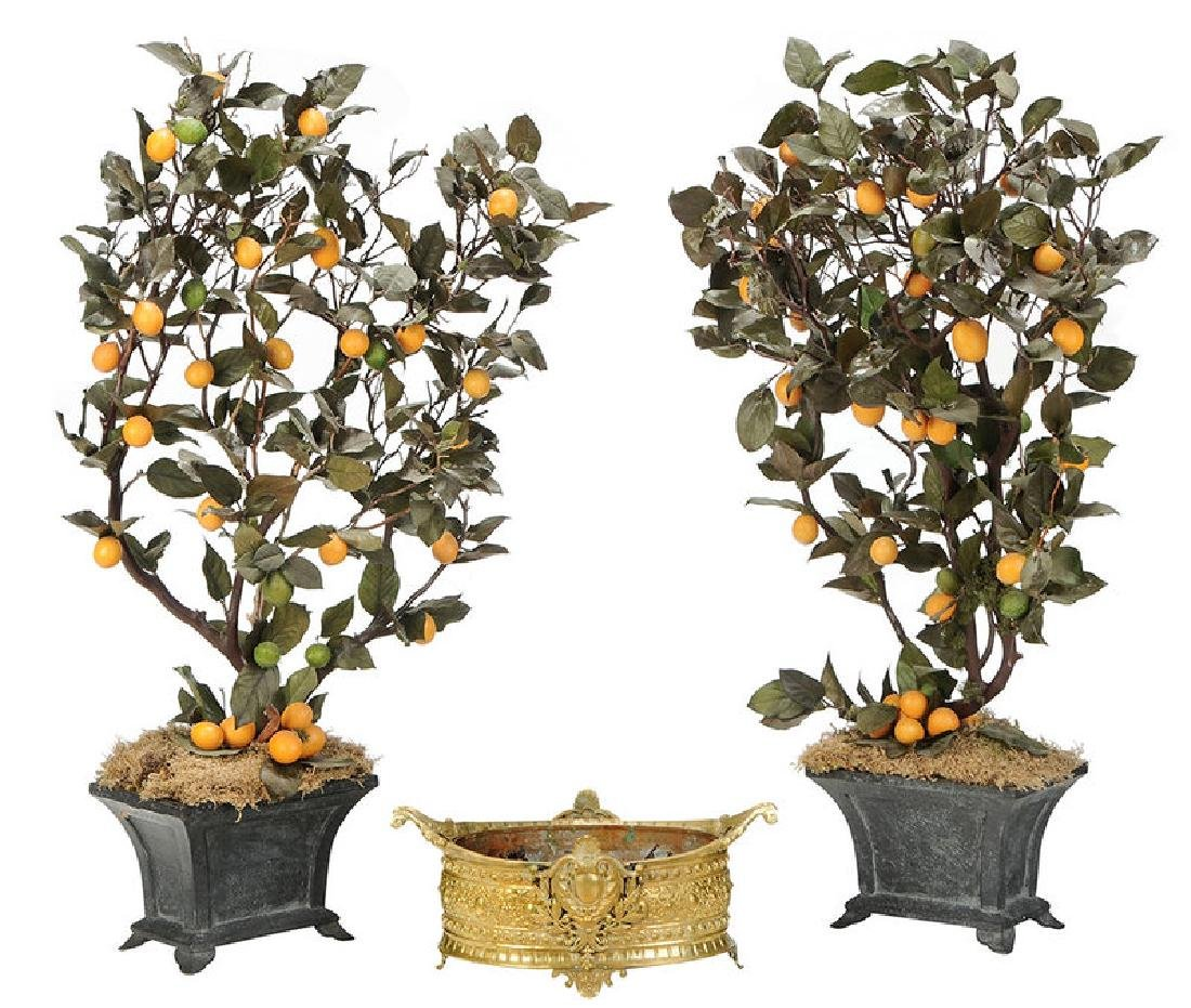 Brass Planter and Pair Faux Potted Orange Trees