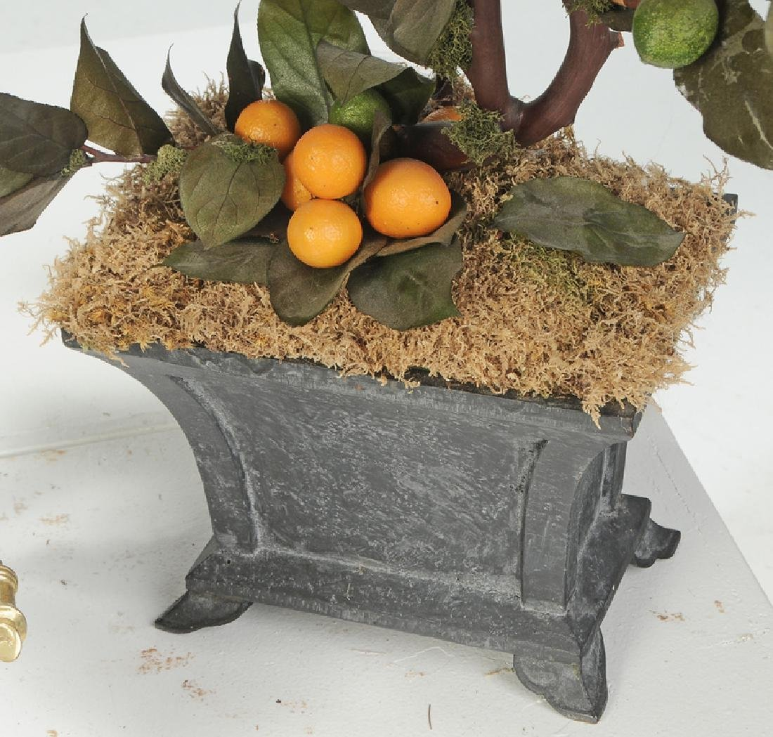 Brass Planter and Pair Faux Potted Orange Trees - 5