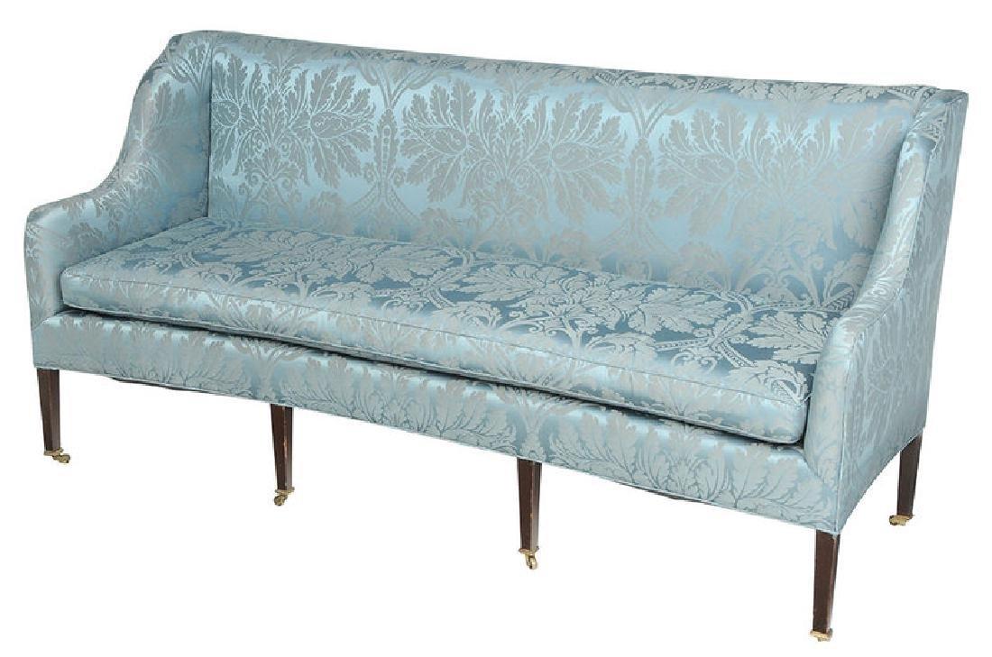 A Hepplewhite Style Damask Upholstered Sofa