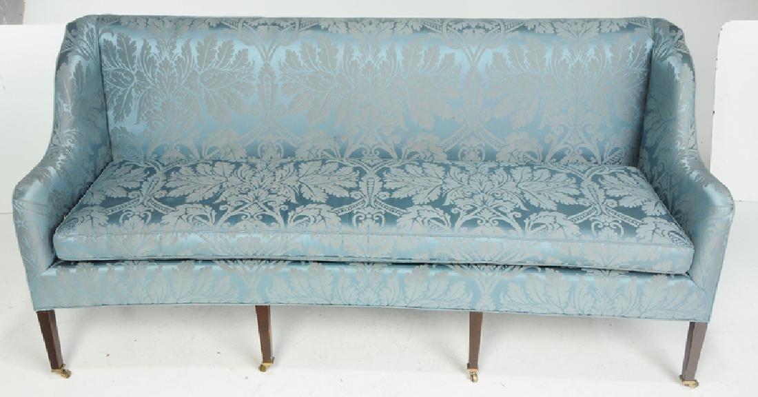 A Hepplewhite Style Damask Upholstered Sofa - 2