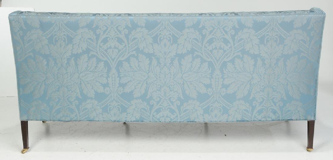 A Hepplewhite Style Damask Upholstered Sofa - 5
