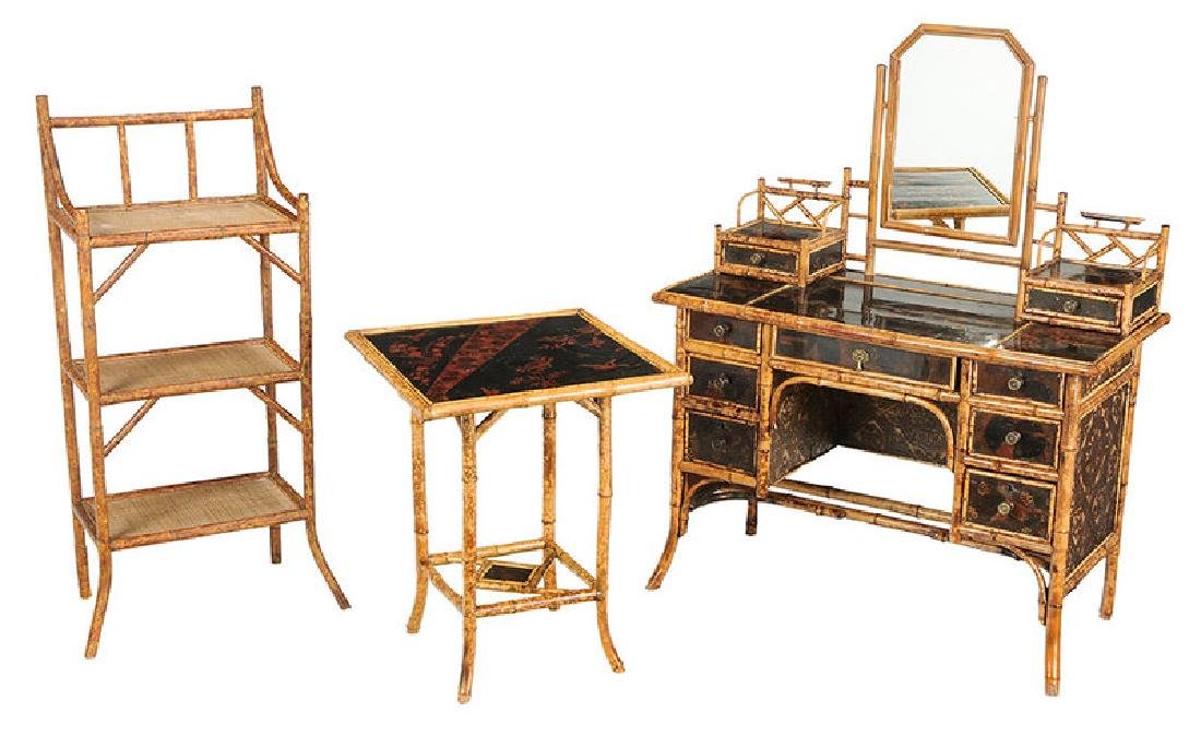 Victorian Bamboo Table and Desk with a Later Bookshelf