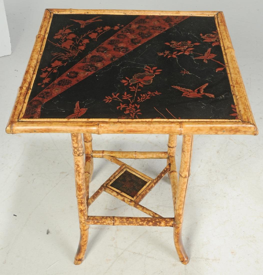 Victorian Bamboo Table and Desk with a Later Bookshelf - 2