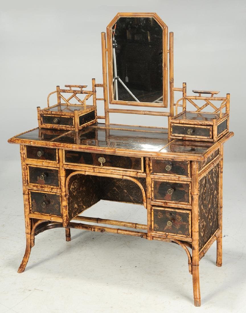 Victorian Bamboo Table and Desk with a Later Bookshelf - 4