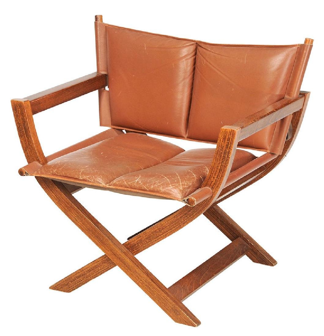 Folding Leather Upholstered Director's Chair