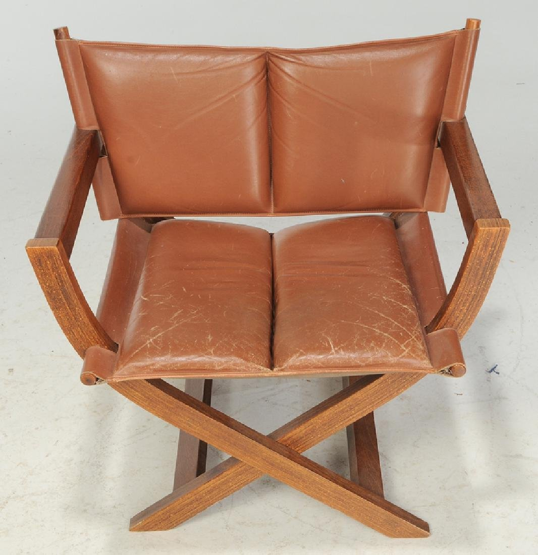 Folding Leather Upholstered Director's Chair - 2
