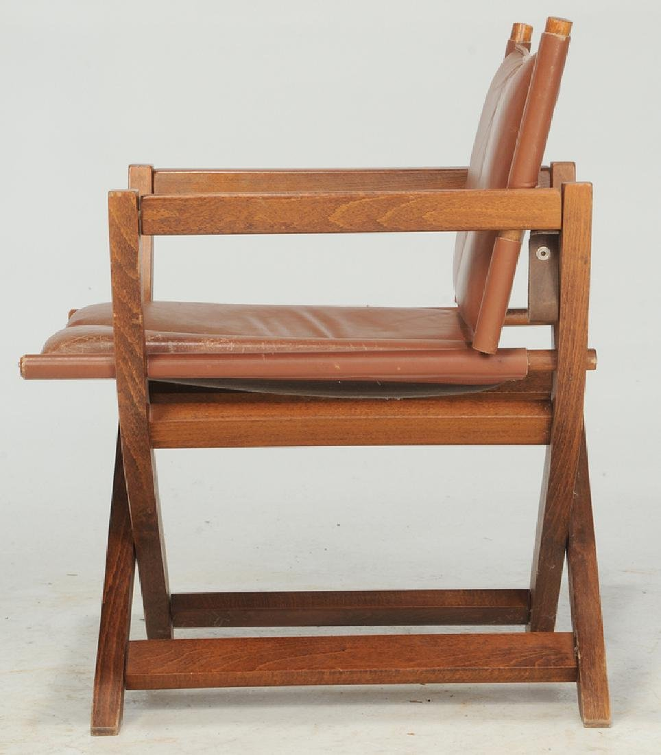 Folding Leather Upholstered Director's Chair - 4