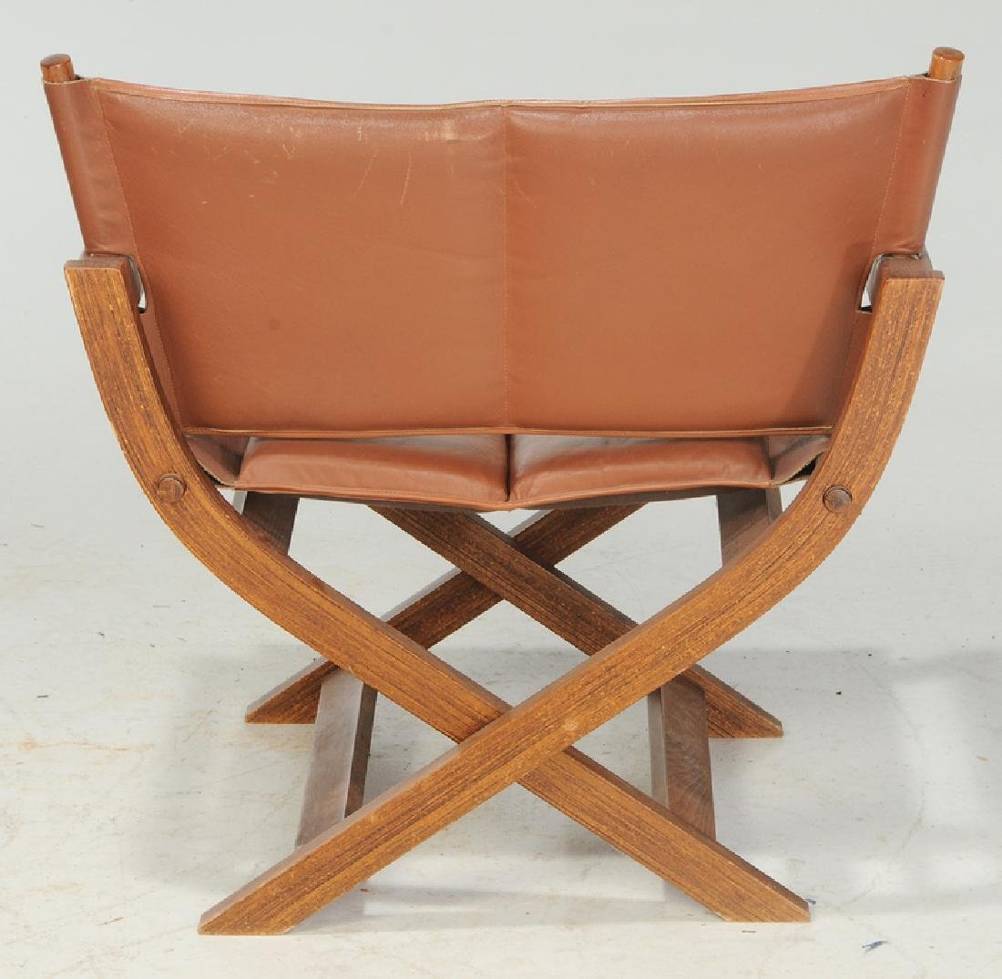 Folding Leather Upholstered Director's Chair - 5