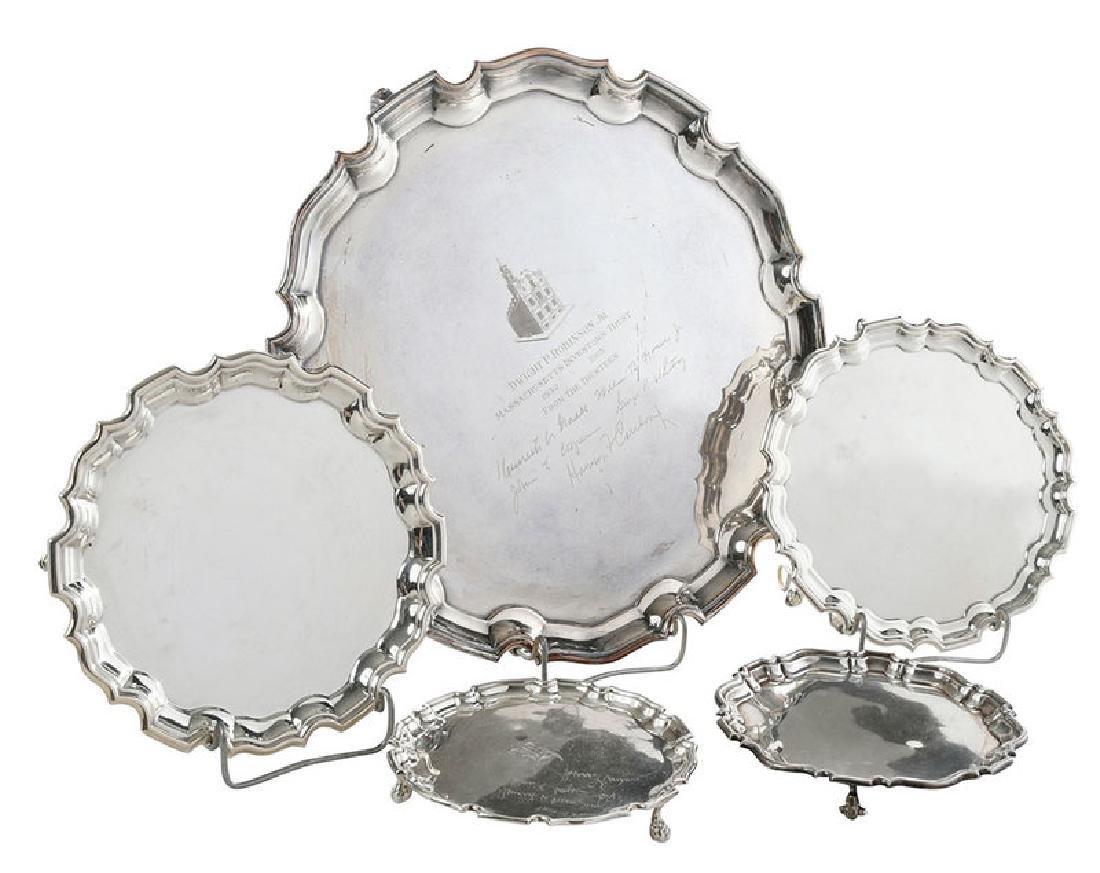 Five English Silver Trays