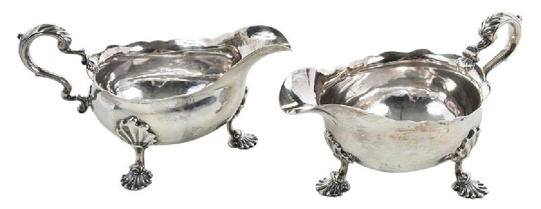 Pair George II English Silver Sauce Boats