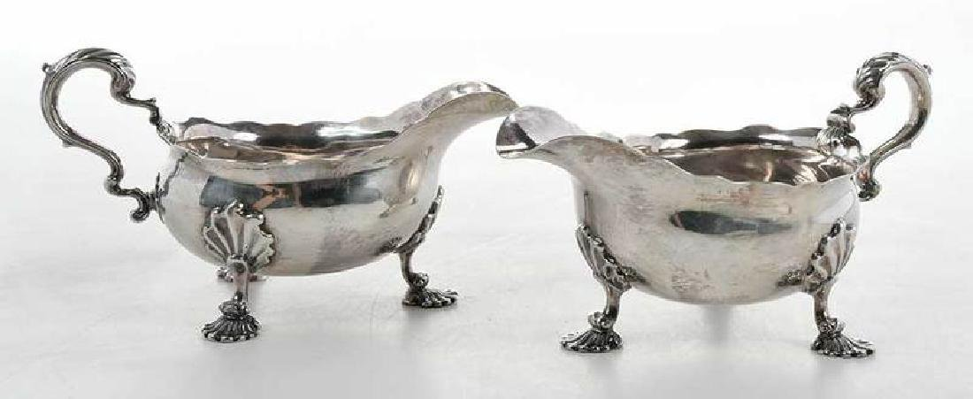 Pair George II English Silver Sauce Boats - 2
