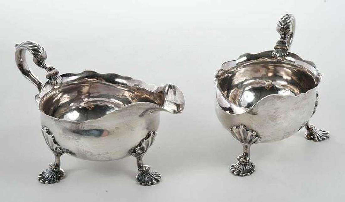Pair George II English Silver Sauce Boats - 4