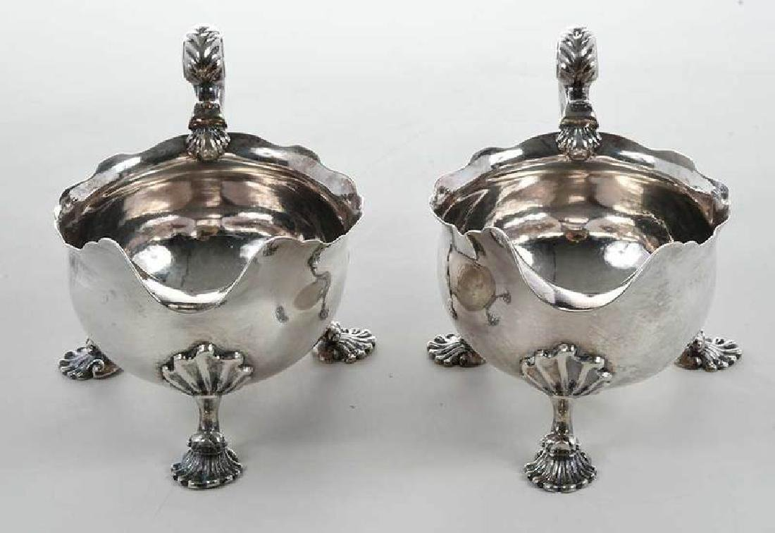Pair George II English Silver Sauce Boats - 5