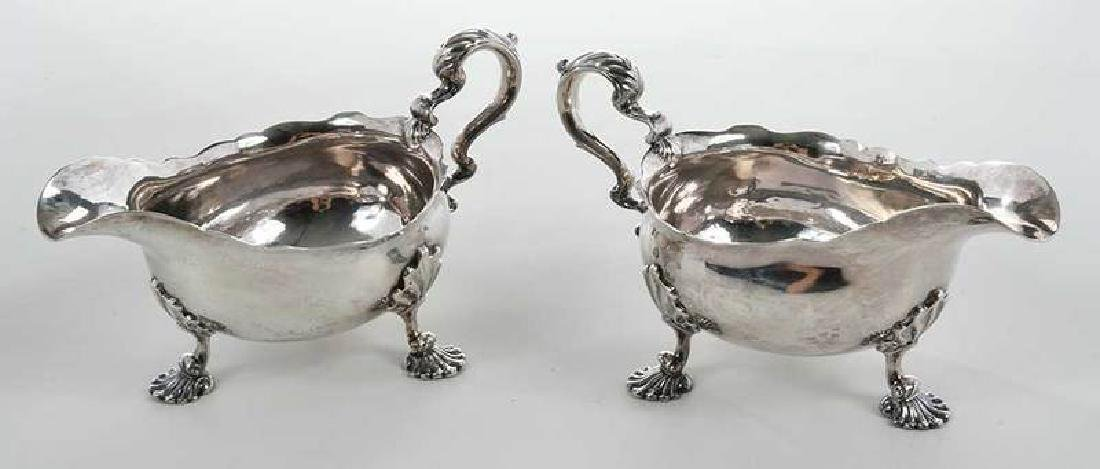 Pair George II English Silver Sauce Boats - 6
