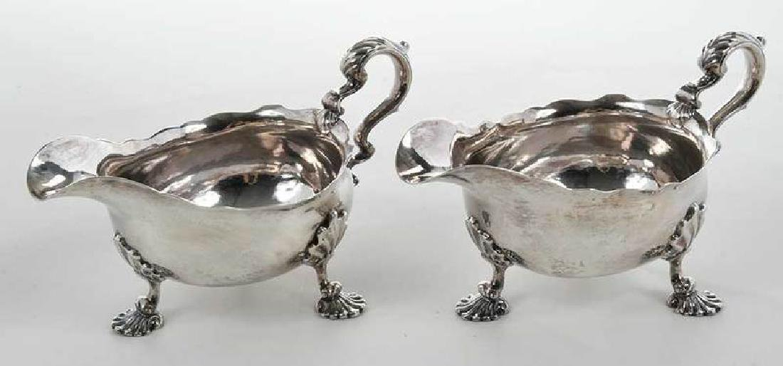 Pair George II English Silver Sauce Boats - 7
