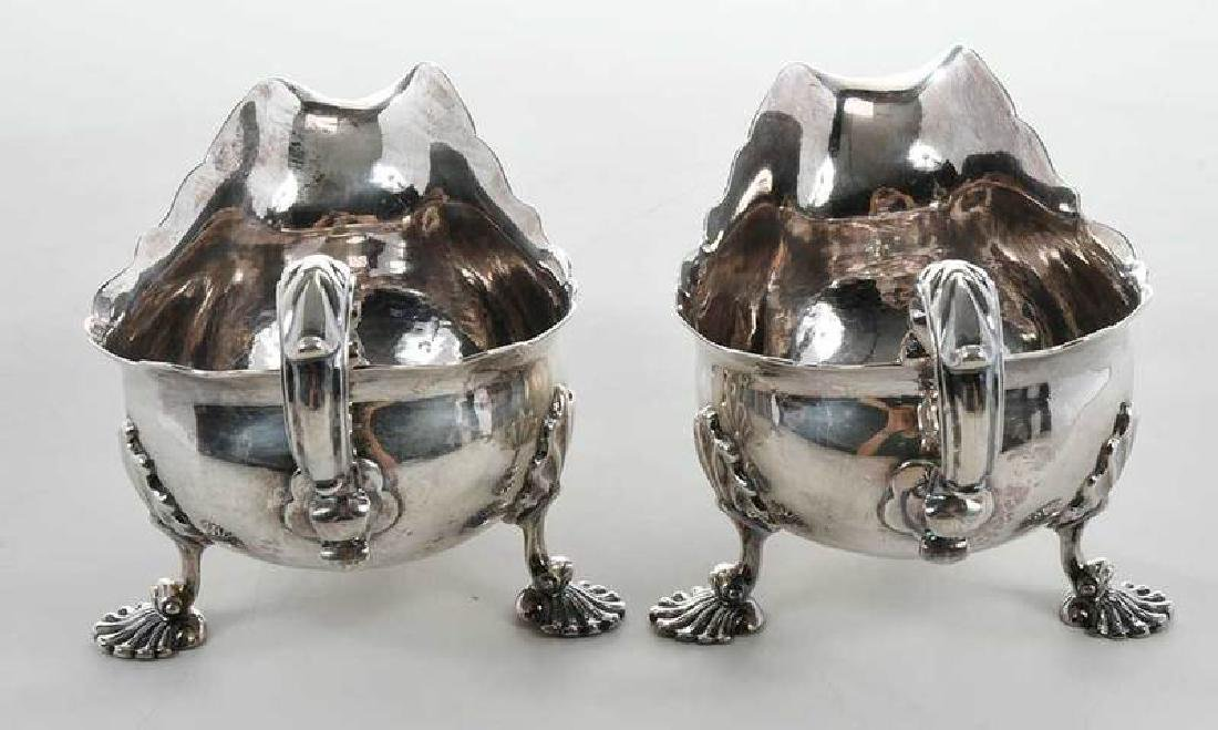Pair George II English Silver Sauce Boats - 8