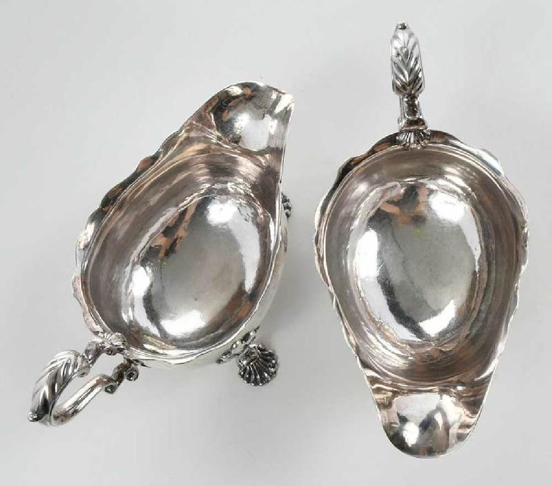 Pair George II English Silver Sauce Boats - 9