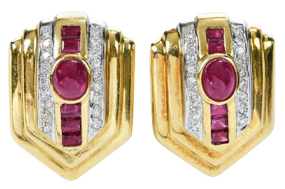 18kt. Ruby and Diamond Earrings