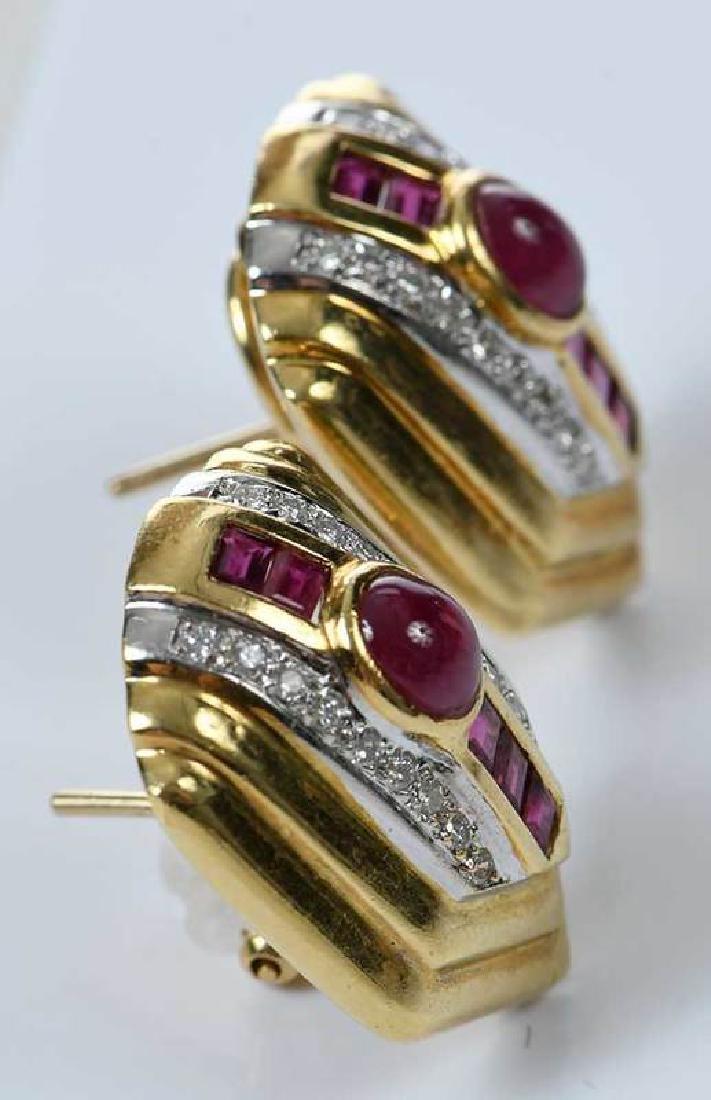 18kt. Ruby and Diamond Earrings - 2