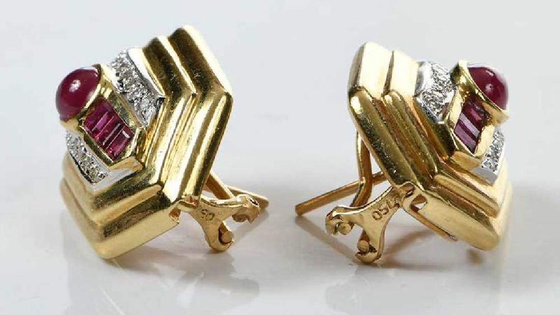 18kt. Ruby and Diamond Earrings - 5