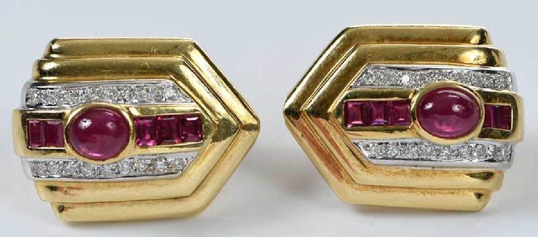 18kt. Ruby and Diamond Earrings - 7