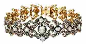 Silver topped Gold Diamond Bracelet