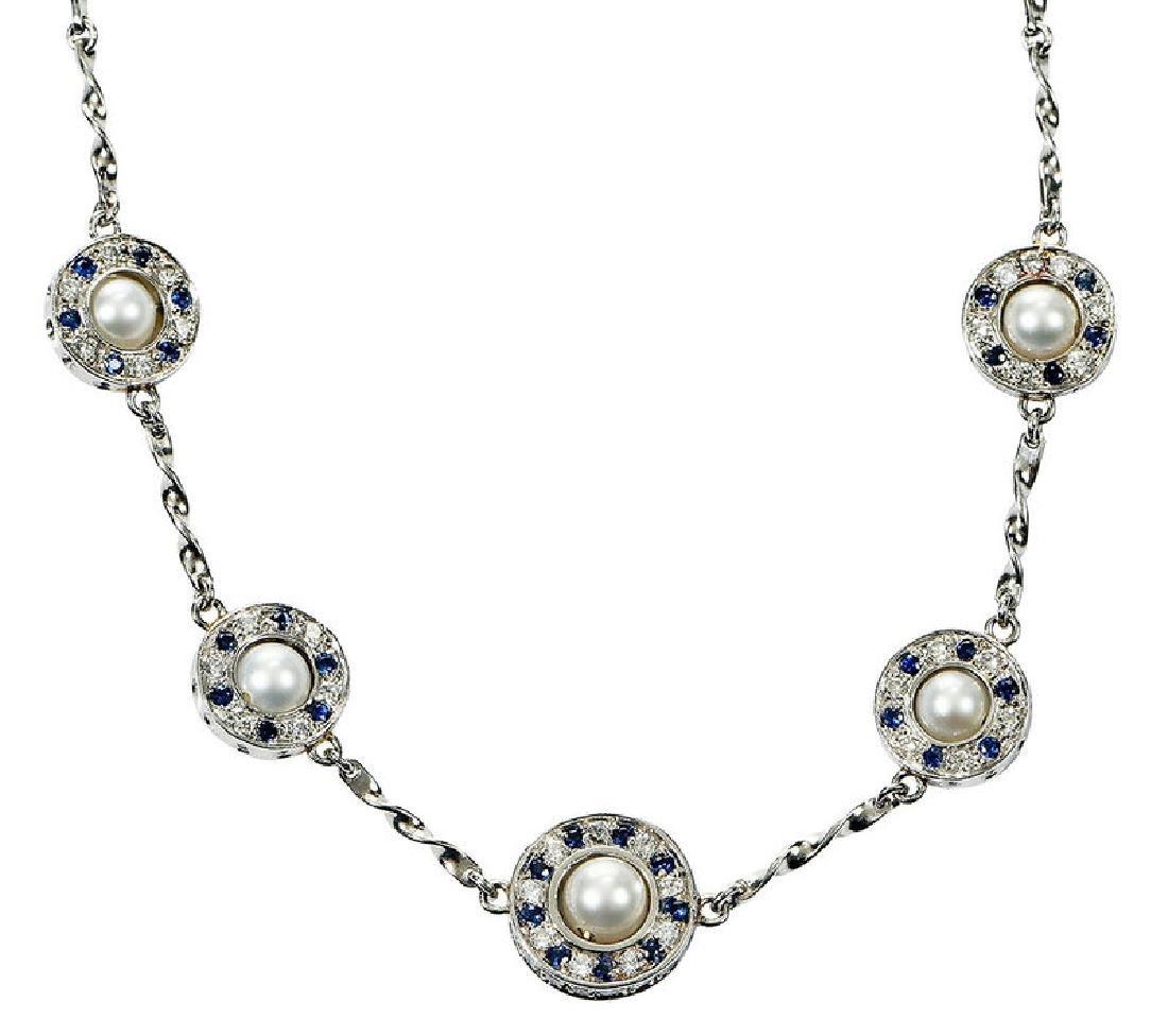 Platinum, Diamond and Sapphire Necklace