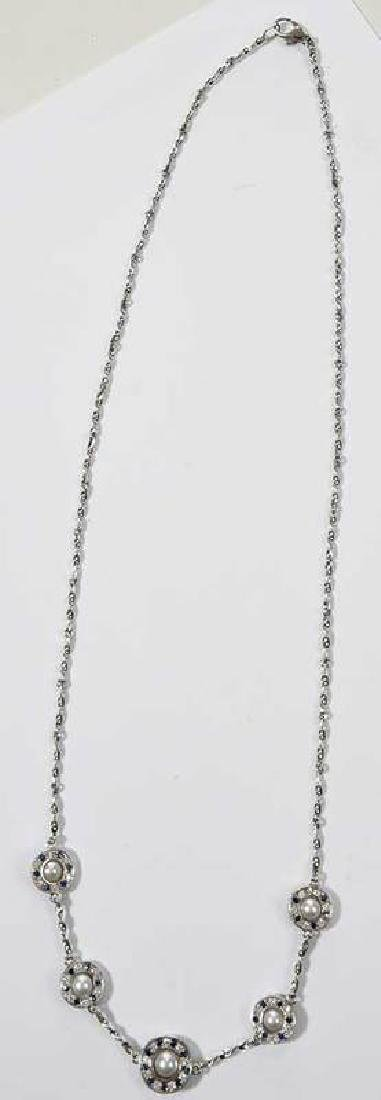 Platinum, Diamond and Sapphire Necklace - 2