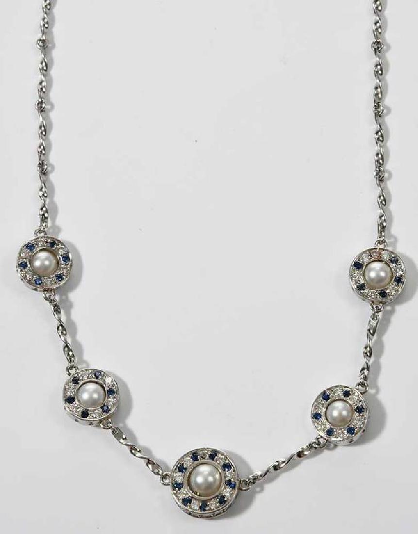 Platinum, Diamond and Sapphire Necklace - 3