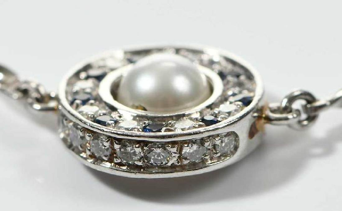Platinum, Diamond and Sapphire Necklace - 5
