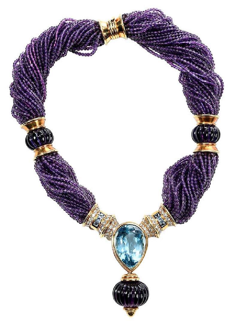 18kt. Amethyst, Blue Topaz and Diamond Necklace