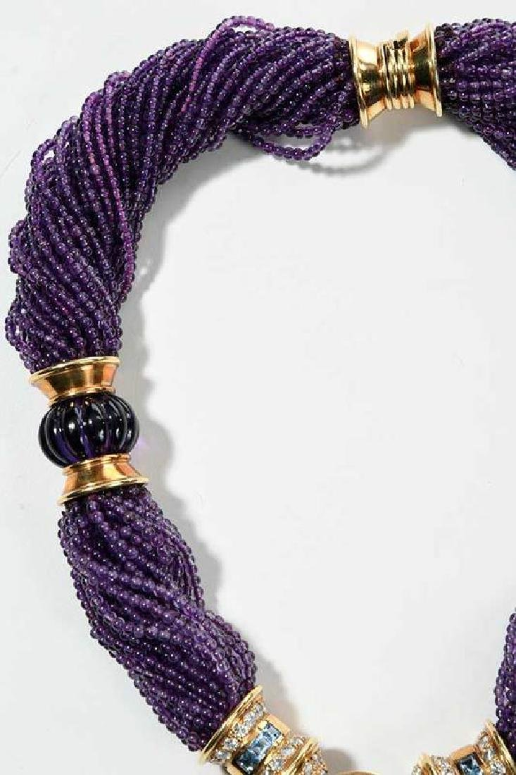 18kt. Amethyst, Blue Topaz and Diamond Necklace - 3