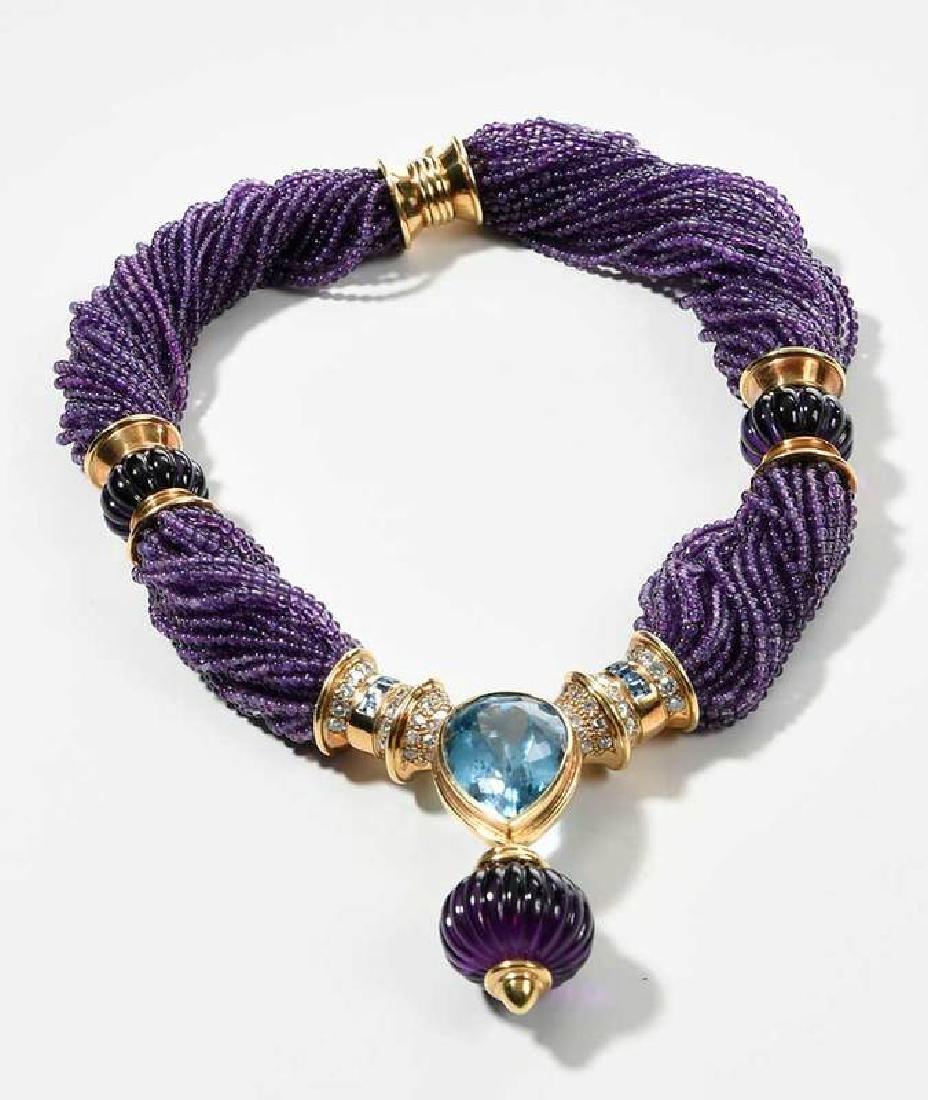 18kt. Amethyst, Blue Topaz and Diamond Necklace - 4