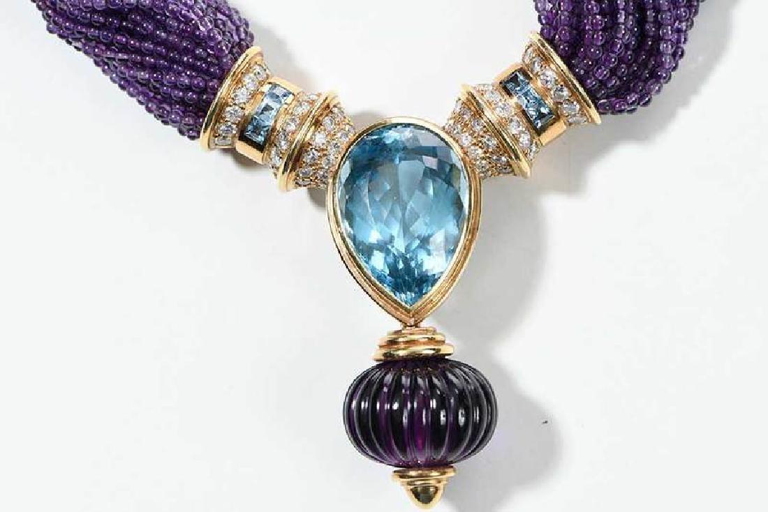 18kt. Amethyst, Blue Topaz and Diamond Necklace - 5