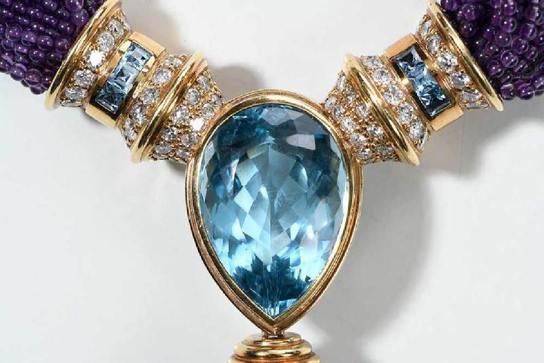 18kt. Amethyst, Blue Topaz and Diamond Necklace - 6