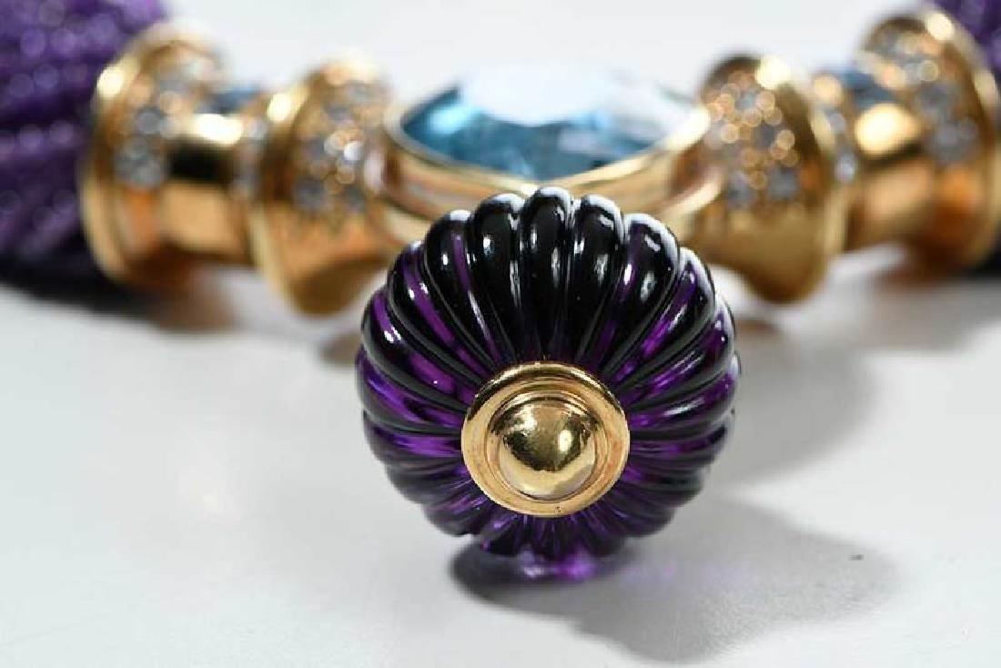 18kt. Amethyst, Blue Topaz and Diamond Necklace - 9