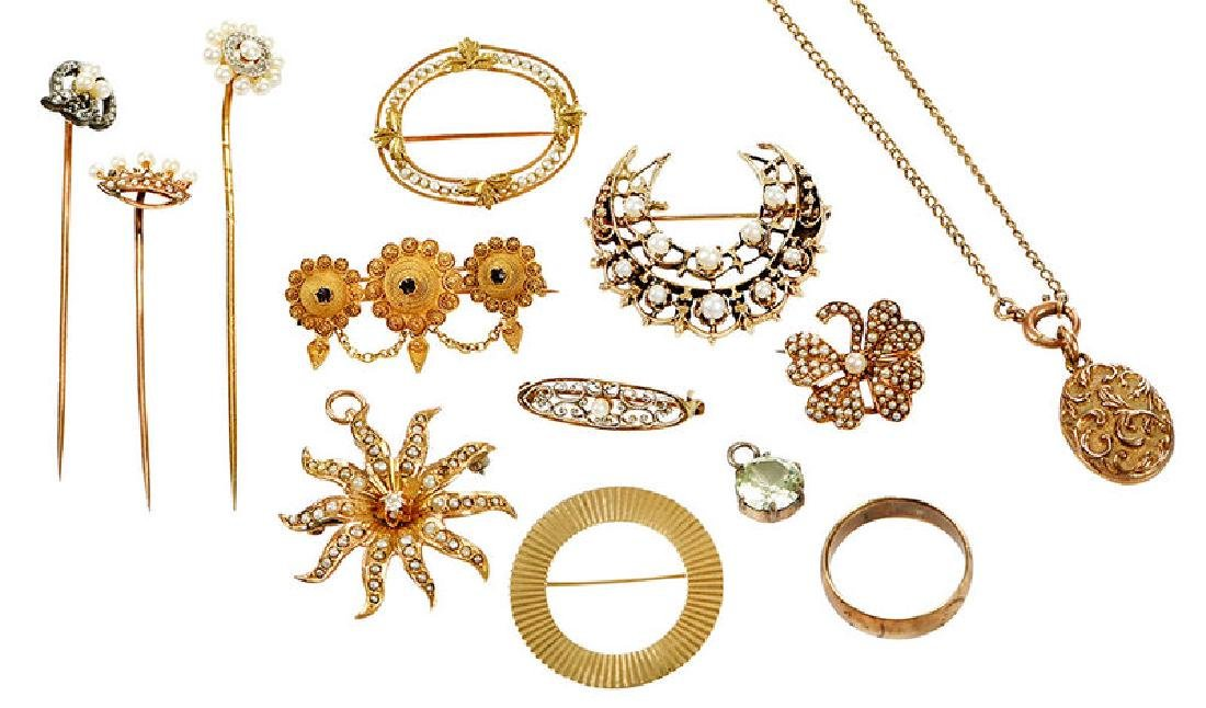 13 Pieces Antique Jewelry