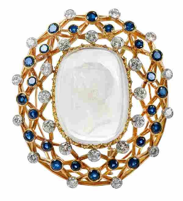 18kt. Intaglio, Diamond and Sapphire Brooch