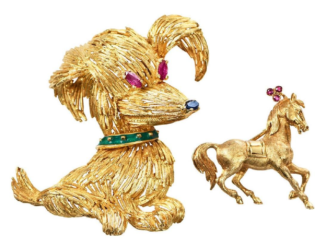 Two 18kt. Animal Brooches