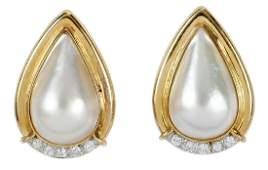 14kt. Pearl and Diamond Earrings