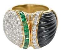 18kt Diamond Emerald  Onyx Ring