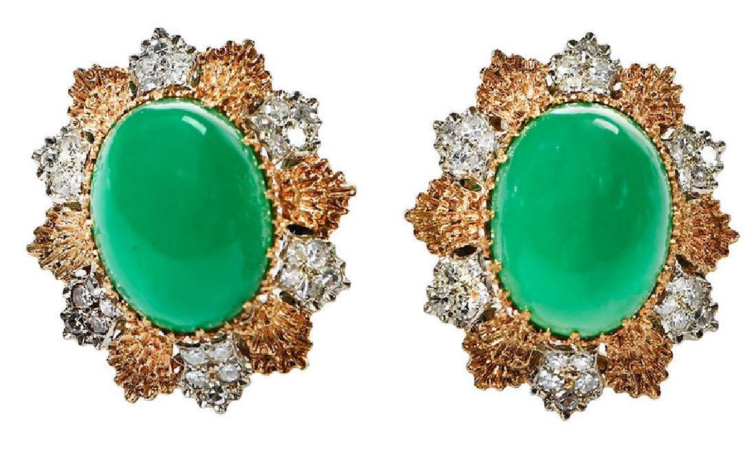14kt. Chrysoprase and Diamond Earrings