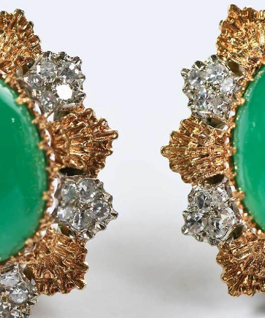 14kt. Chrysoprase and Diamond Earrings - 2